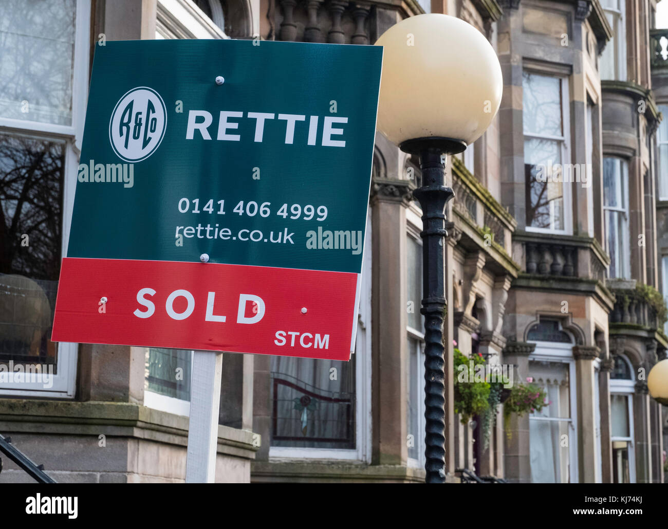Sold sign on Queens Drive in Queens Park district of Glasgow, Scotland, United Kingdom - Stock Image