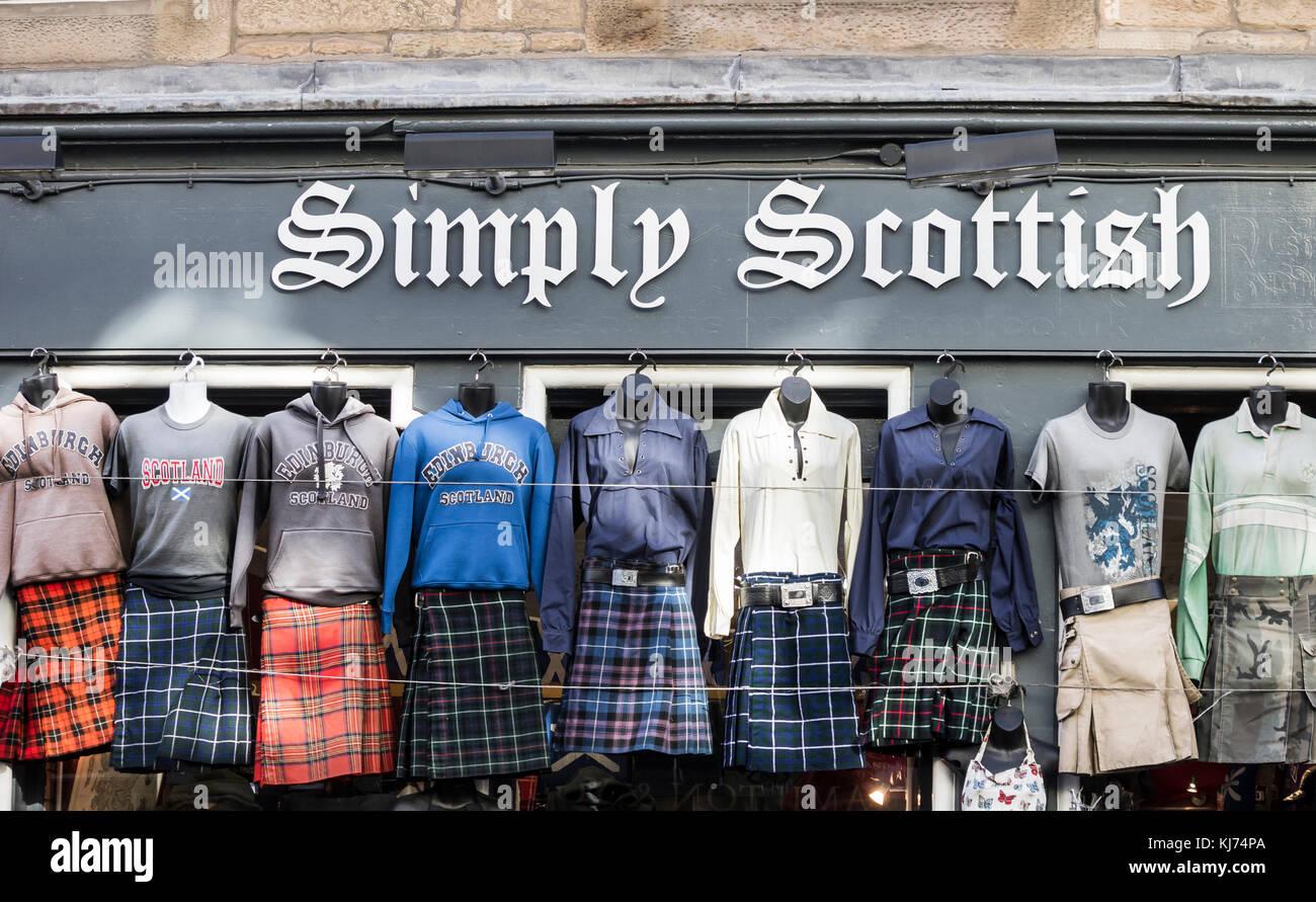 Kilt shop on The Royal Mile in Edinburgh, Scotland, UK - Stock Image