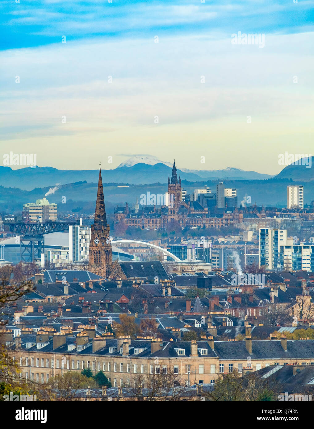 Skyline of Glasgow from Queens Park in Southside of the city. Scotland, United Kingdom - Stock Image