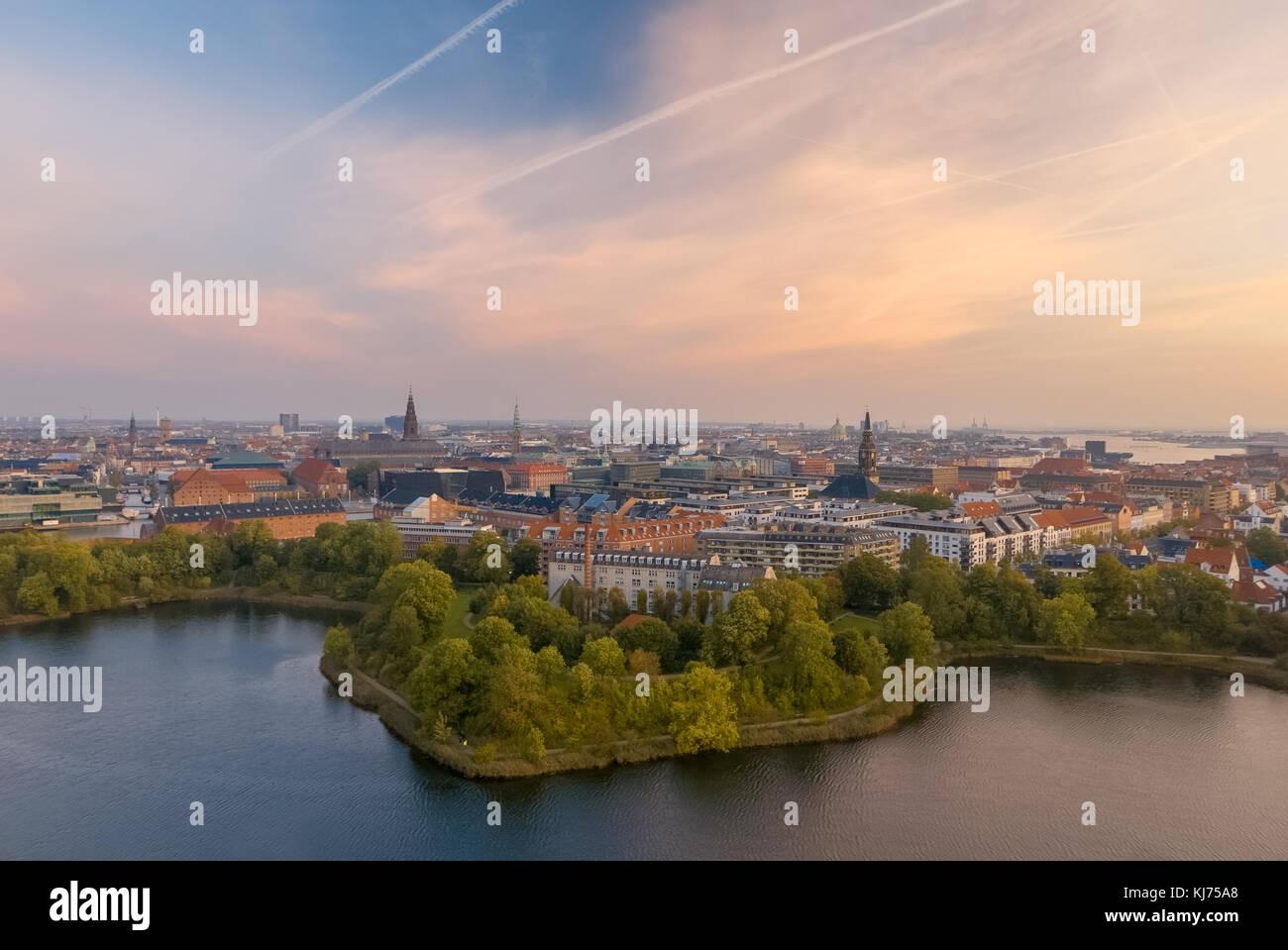 Copenhagen, beautiful skyline of the Danish capital - Stock Image