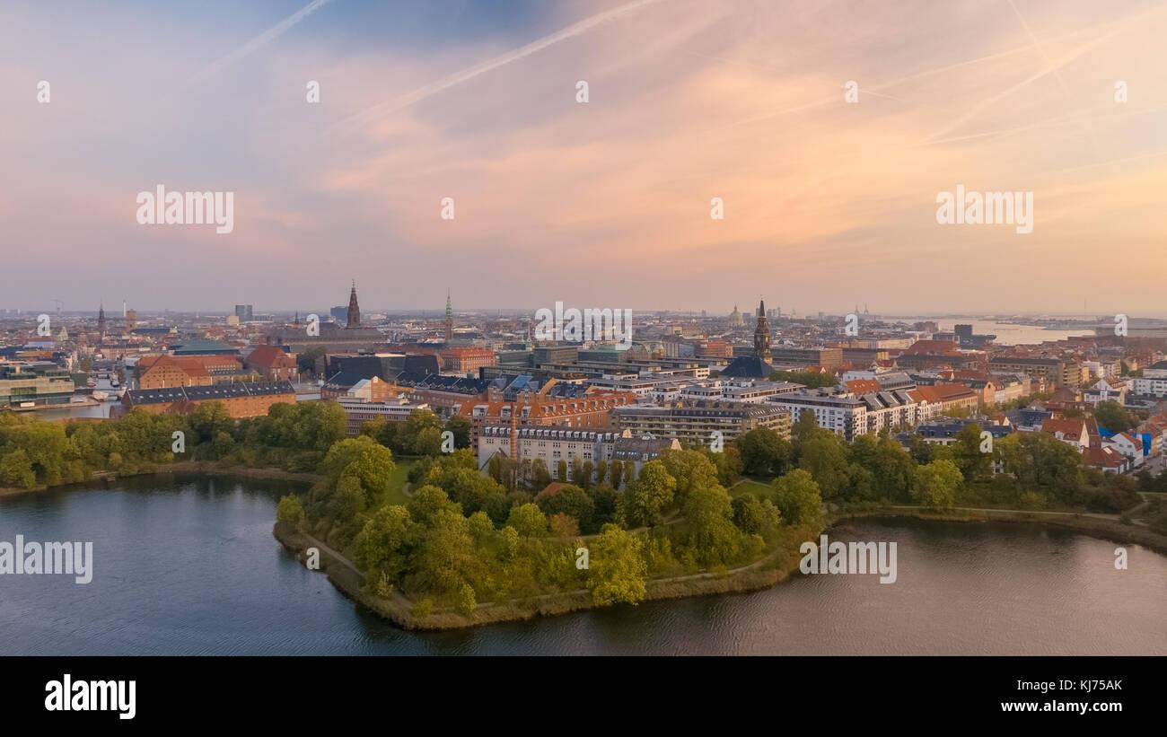 Morning skyline of Copenhagen, Denmark - Stock Image