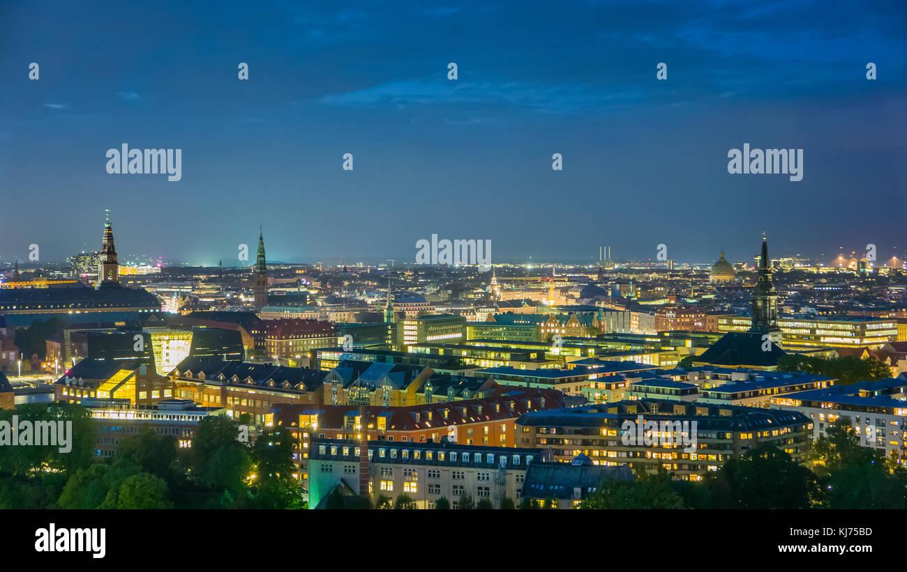 Skyline of Copenhagen downtown, endless city lights - Stock Image