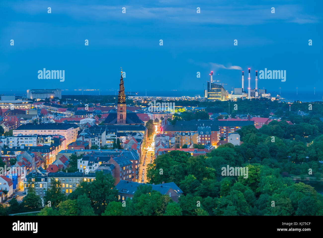Smart city, renewable energy from biogas plant and wind turbines for the capital of Denmark, Copenhagen - Stock Image