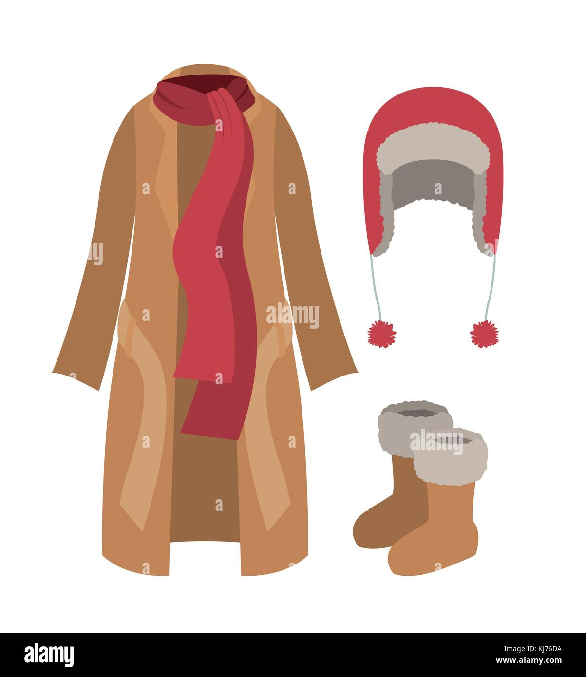 winter clothes coat and scarf and wool cap and boots in colorful silhouette over white background - Stock Vector