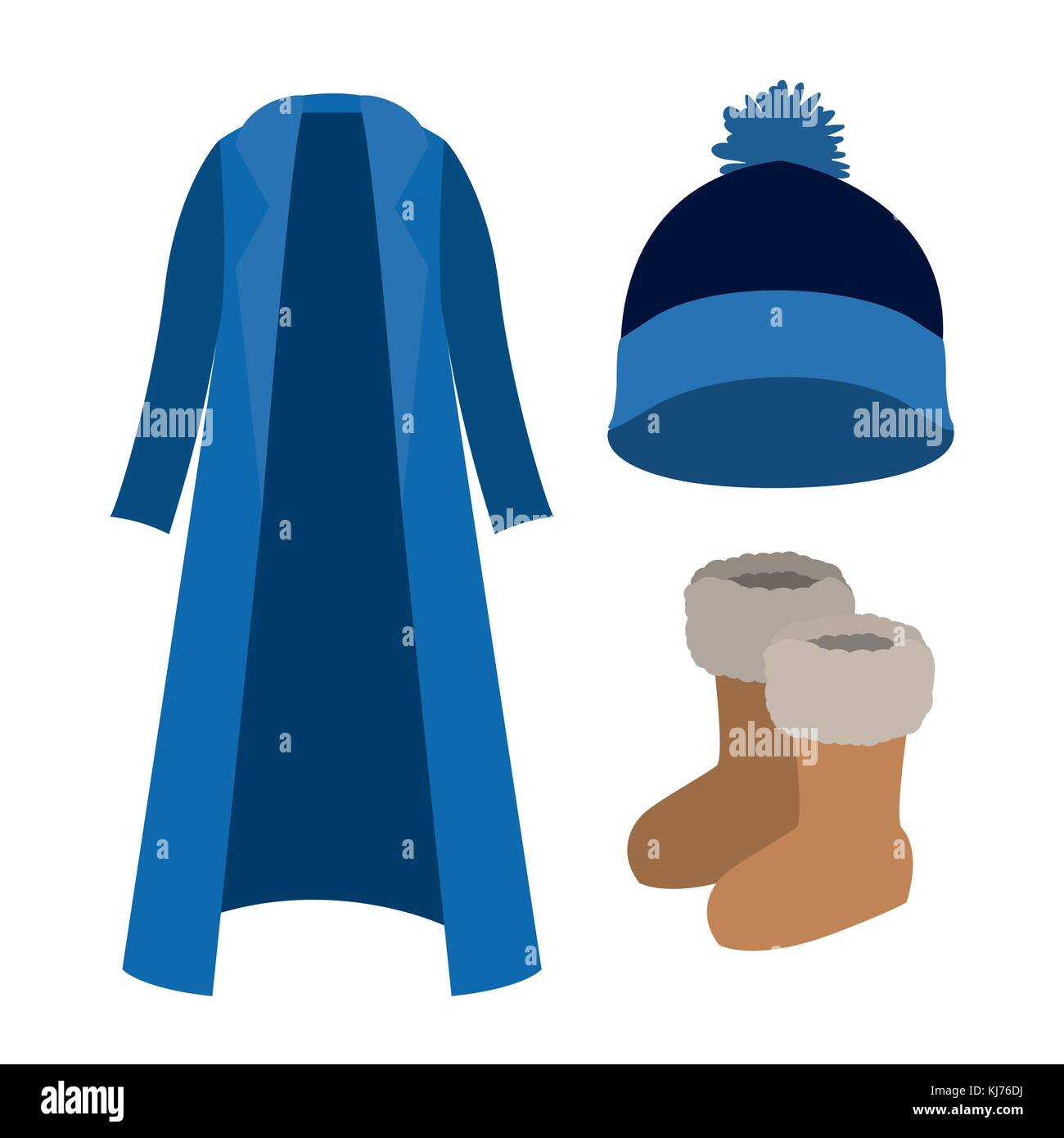 winter clothes with blue coat and wool cap and boots over white background - Stock Vector