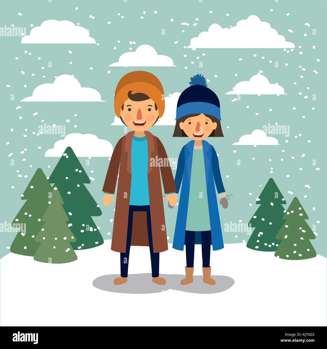 winter people background with couple in colorful landscape with pine trees and snow falling and both with coats - Stock Vector