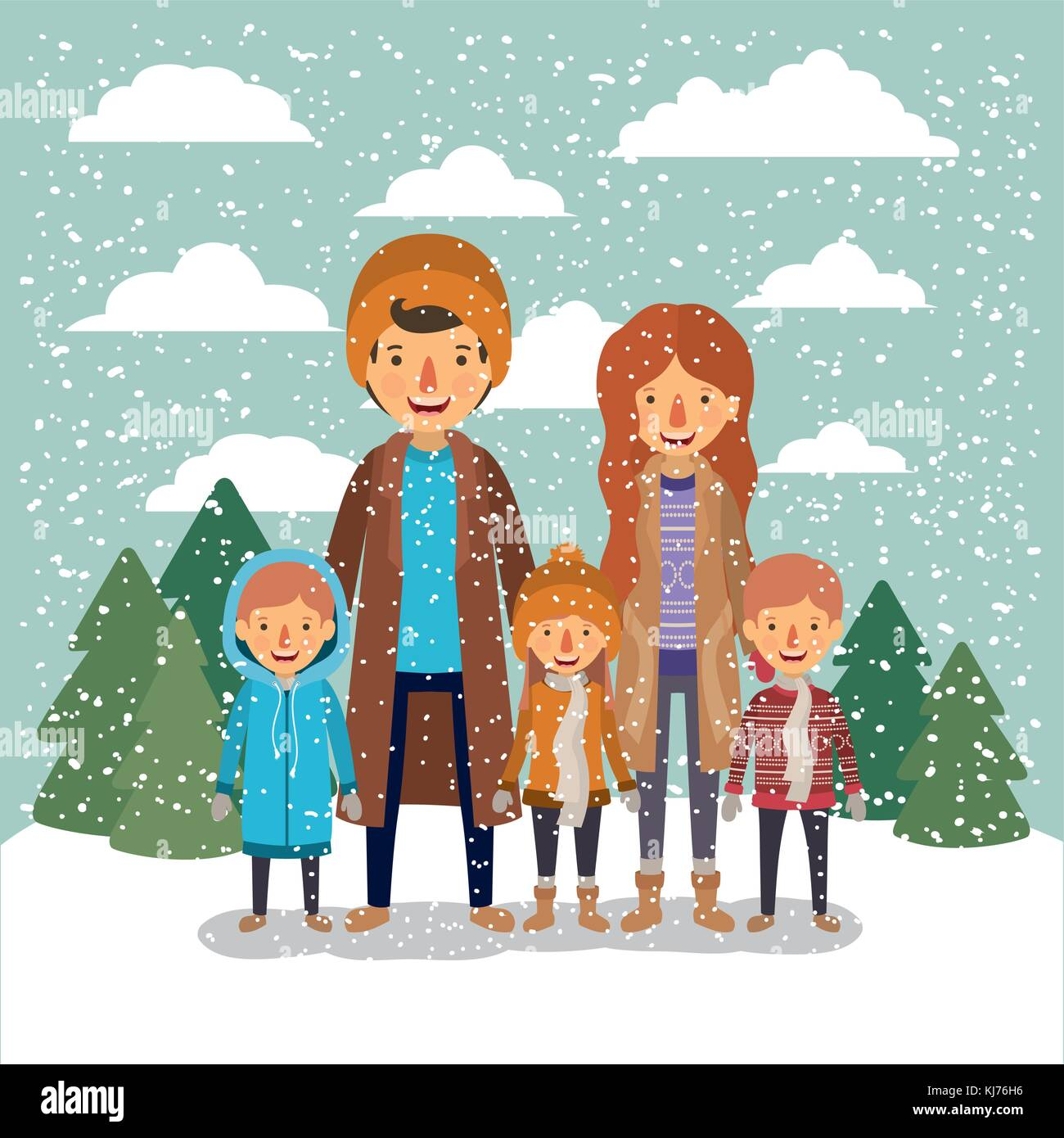 winter people background with family in colorful landscape with pine trees and snow falling and father mother and - Stock Image