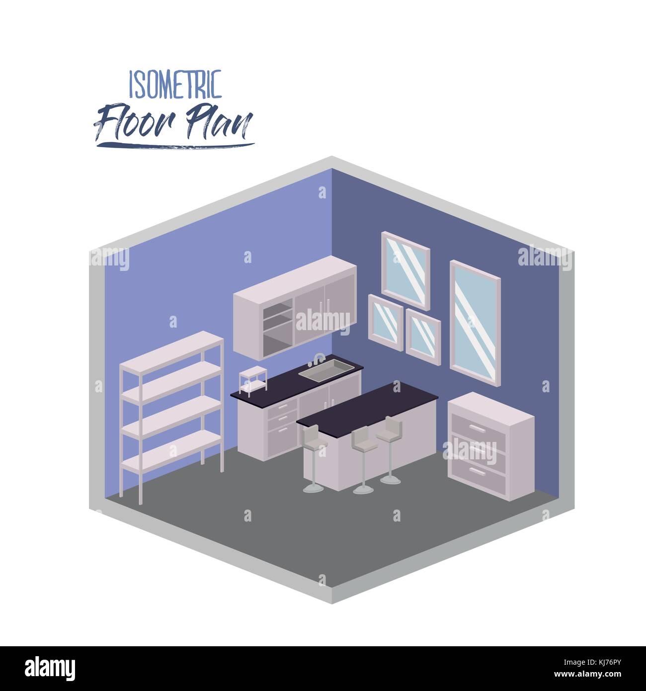 3d Floor Plan Isometric: Isometric Interior Concept Stock Photos & Isometric
