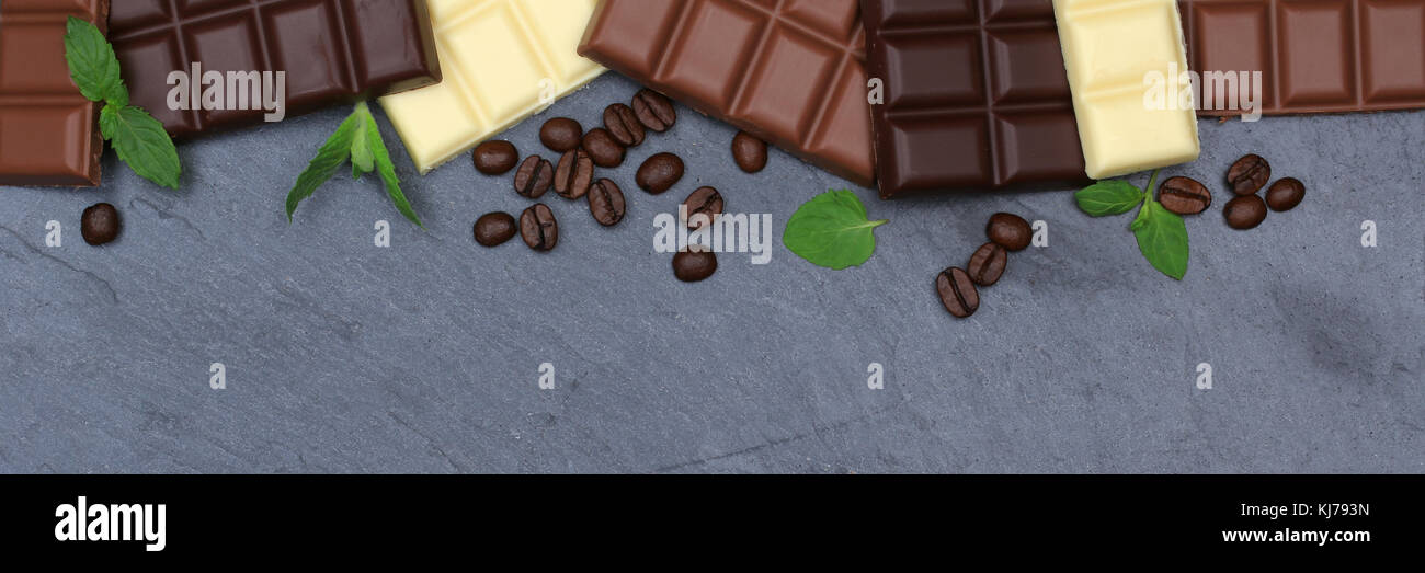 Chocolate chocolates bar food slate banner copyspace top view from above - Stock Image
