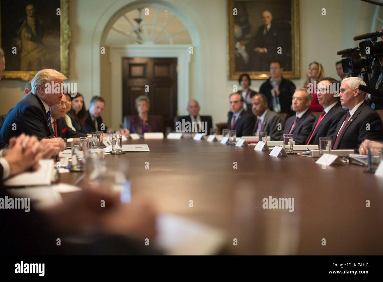 U S President Donald Trump Left Holds A Cabinet Meeting With