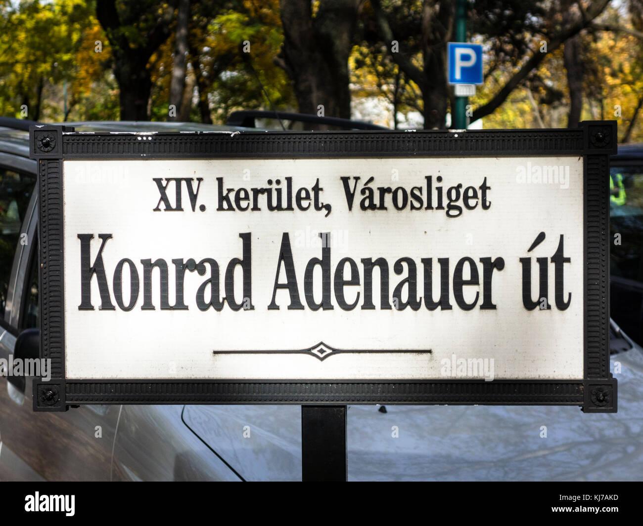 Adenauer Street in Budapest, Hungary - Stock Image