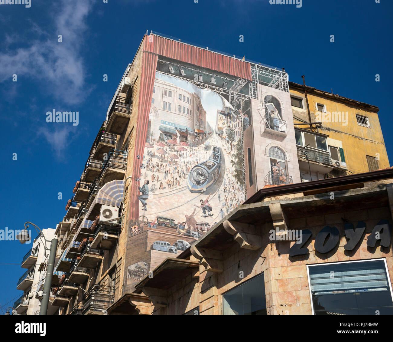 Low angle view of Jerusalem Light Rail Painting on building, Jaffa Road, Jerusalem, Israel - Stock Image