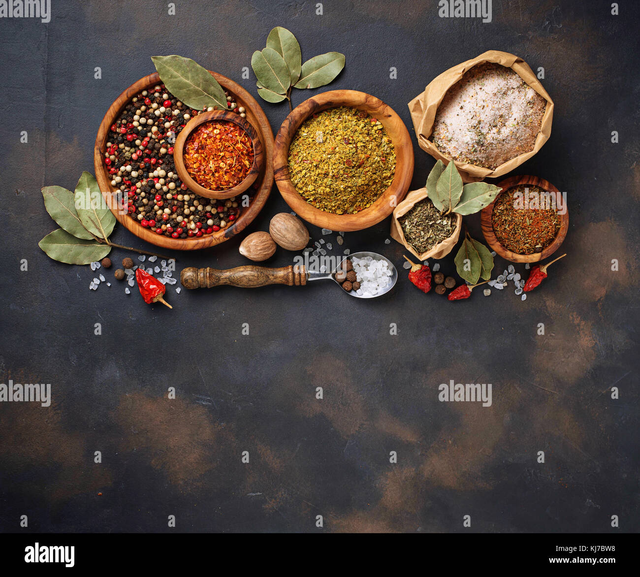 Various type of herbs and spices - Stock Image