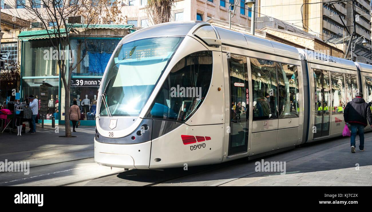 Jerusalem Light Rail on Street, Jaffa Road, Old City, Jerusalem, Israel - Stock Image