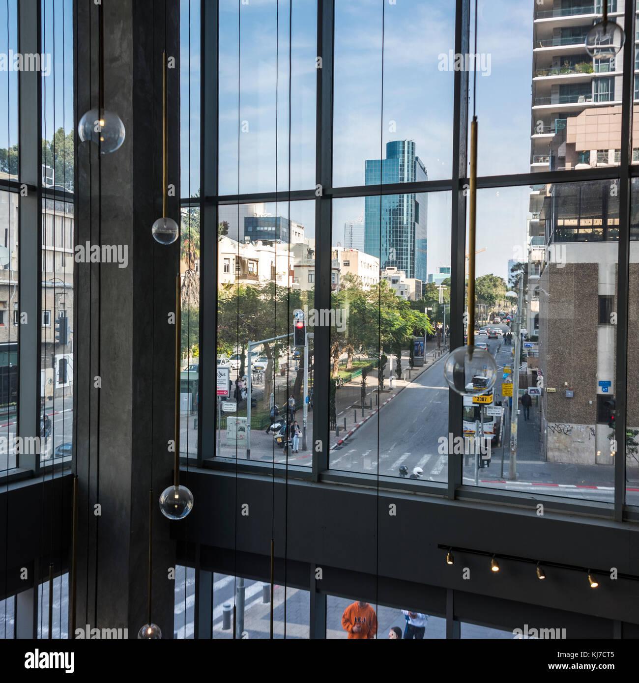 Street view from window of office building, Rothschild Boulevard, Tel Aviv, Israel - Stock Image
