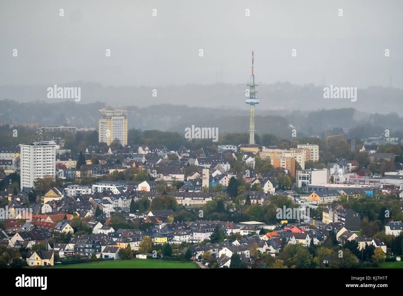 View from Neviges on Velbert with an approaching rain front, Velbert TV tower, BKS water tower, Velbert, Ruhr area, - Stock Image
