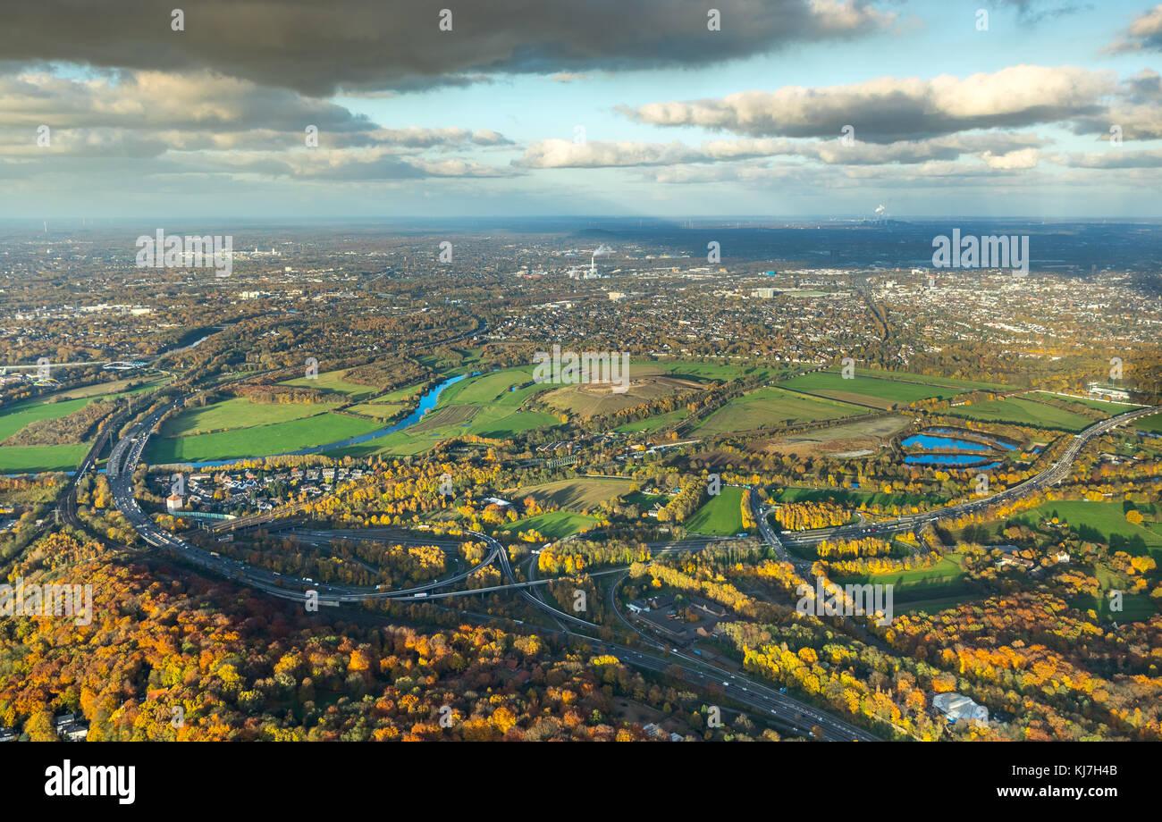 Styrumer Ruhr lowlands, landfill, potential location for wind power plants, Ruhr Valley, Ruhrbogen, Mülheim - Stock Image