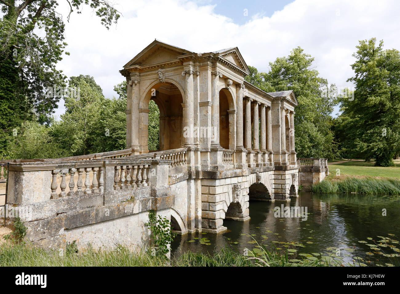 The Palladian Bridge at Stowe Gardens,Buckinghamshire. - Stock Image
