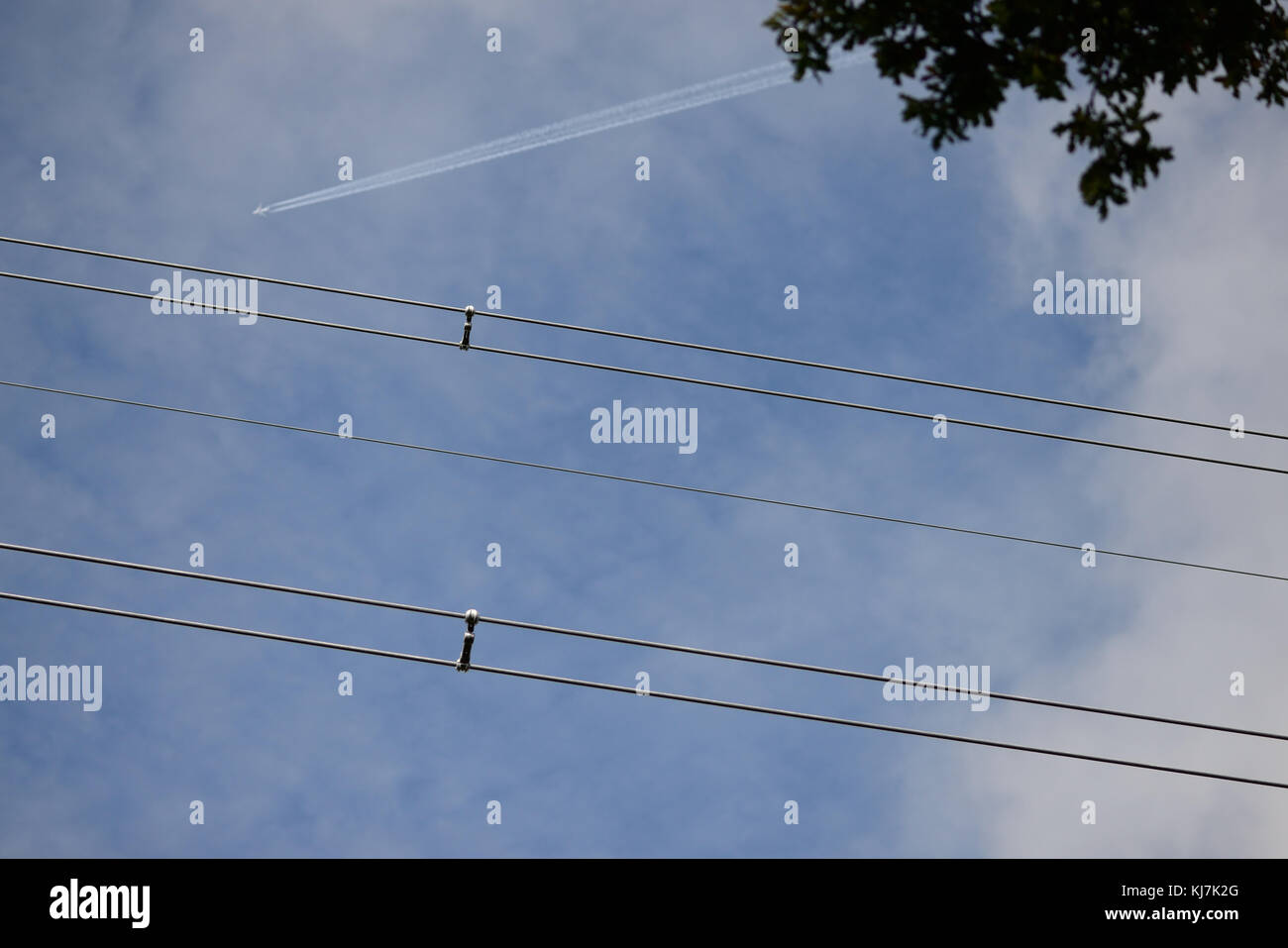Overhead power cables. - Stock Image