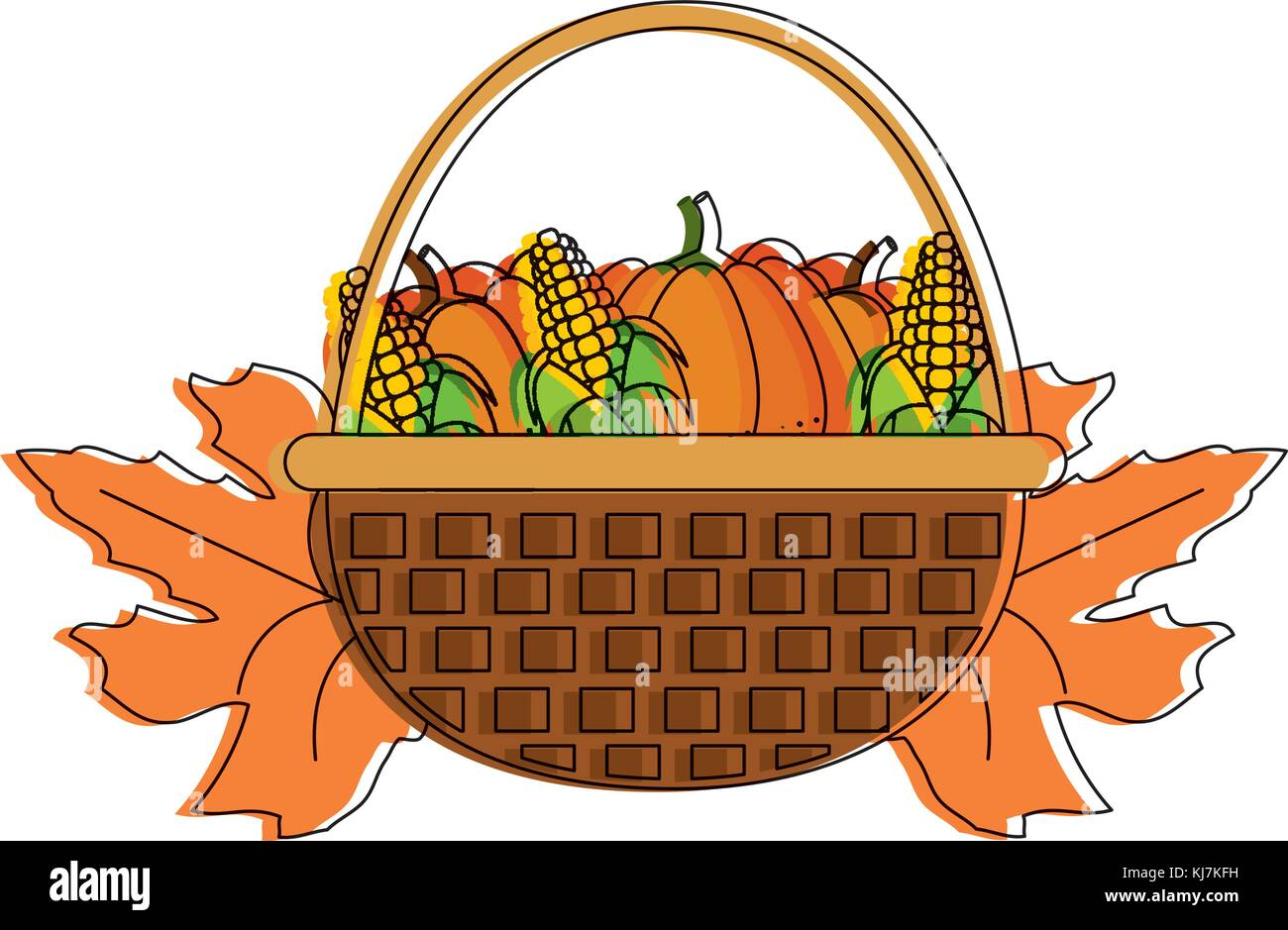 Pumpkins and corns design - Stock Vector