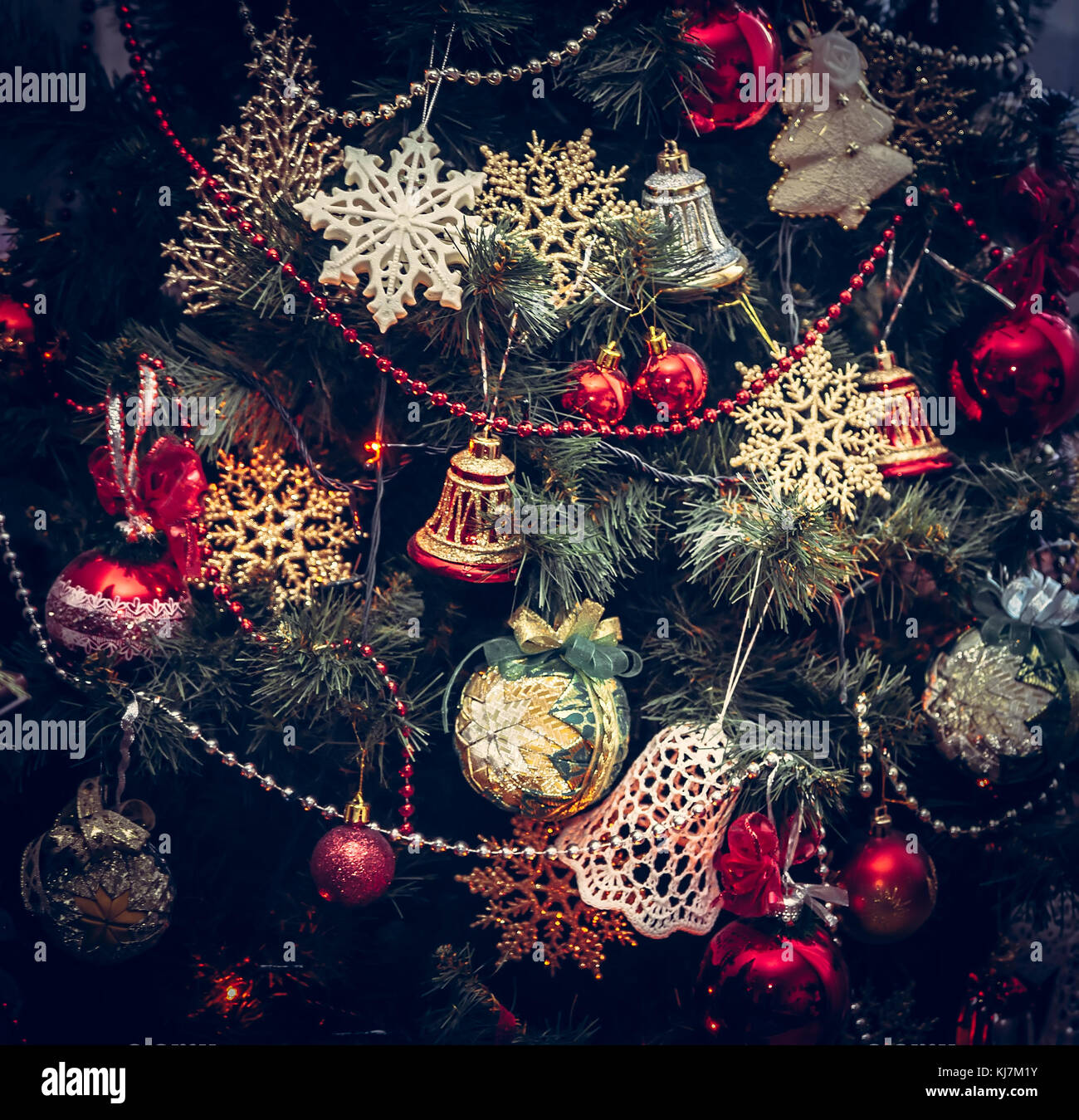 Vintage Christmas Background With Christmas Tree Decorations Stock Photo Alamy