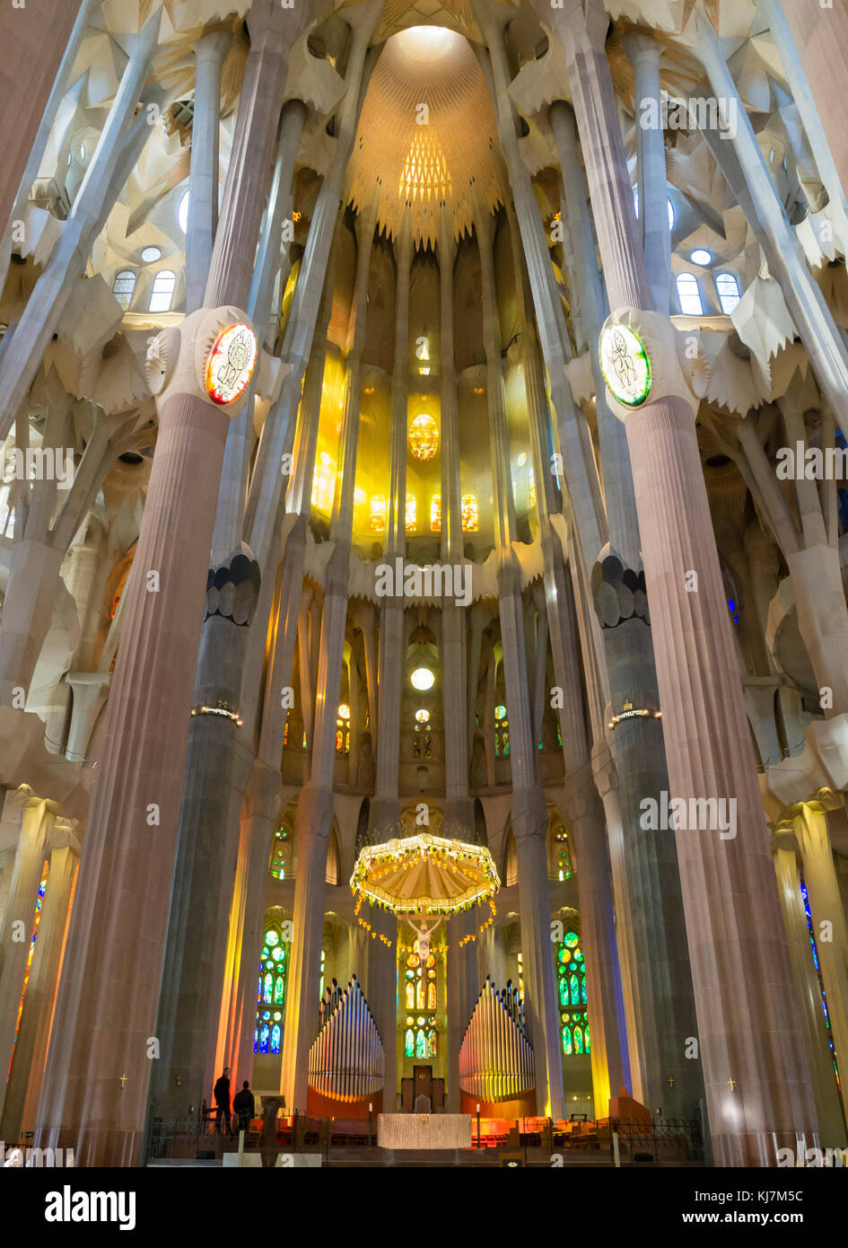Barcelona, Spain - 11 Nov 2016: Spectacular interior of Barcelona's Sagrada Familia cathedral. - Stock Image