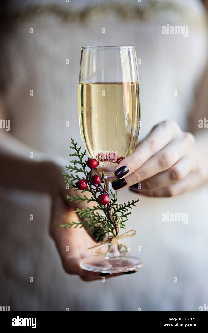 Celebrating with champagne. Young woman holding in her hands a glass of champagne. Close-up Stock Photo