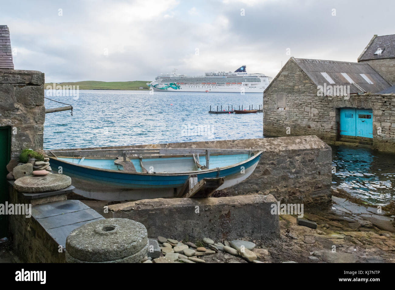 cruise ship Norwegian Jade anchored off Lerwick, Shetland Islands, Scotland, UK - Stock Image