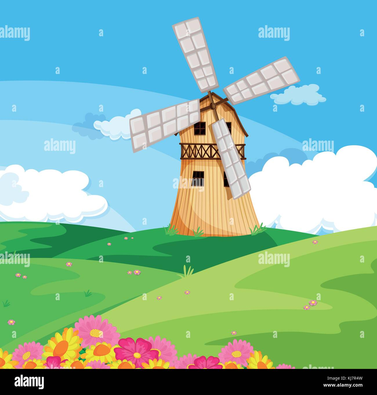 Illustration of a windmill above the hill - Stock Vector