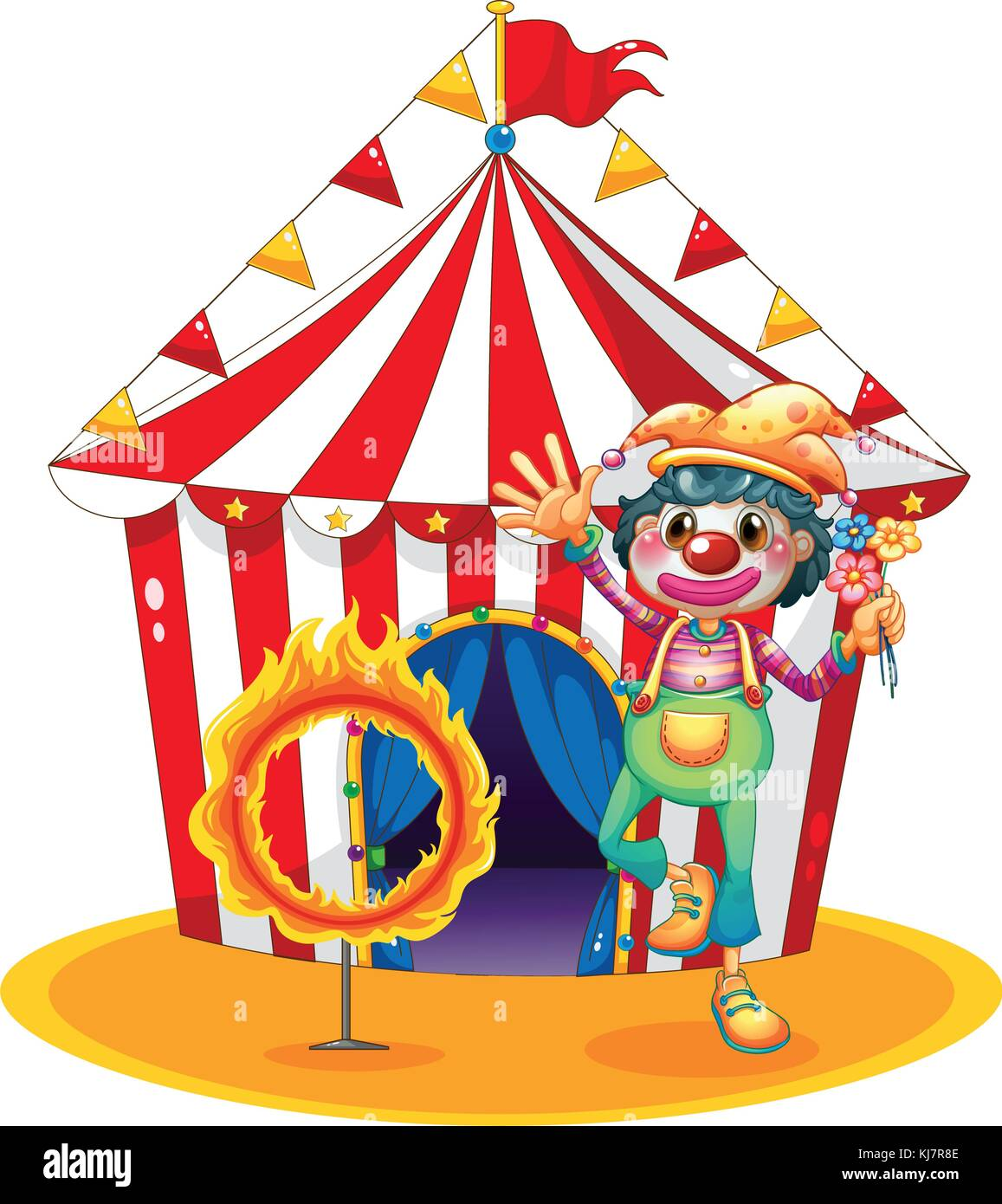 Illustration of a ring of fire and a clown in front of a circus tent on a white background - Stock Image