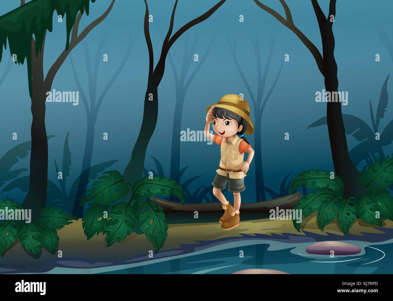 Illustration of a girl in the middle of the forest near the river - Stock Vector