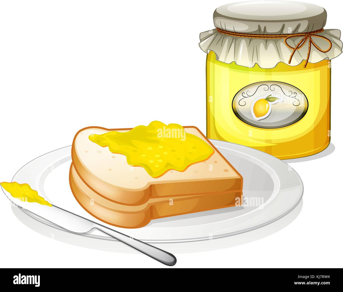 Illustration of a bottle of jam and a sandwich on a white background - Stock Vector
