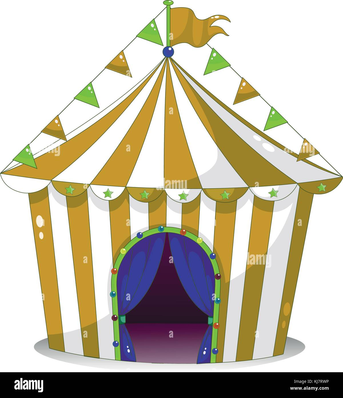 Illustration of a big circus tent on a white background - Stock Vector