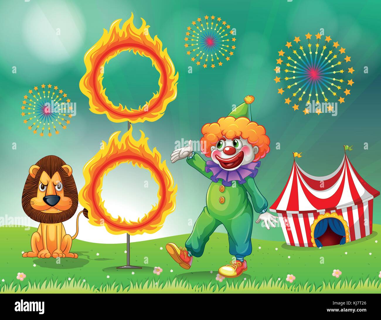 Illustration of a lion and a clown with a ring of fire - Stock Image