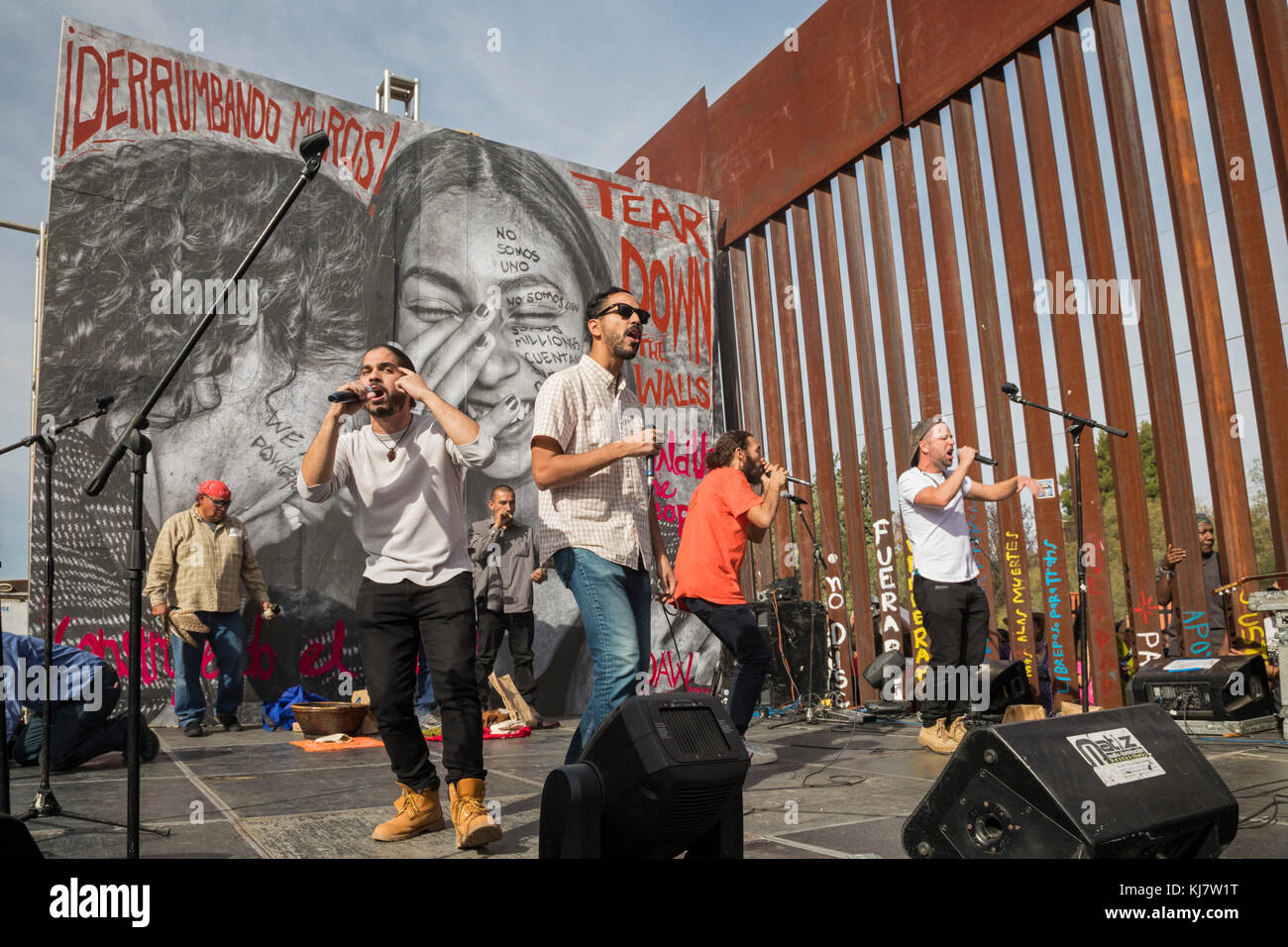 Nogales, Sonora Mexico - The Peace Poets perform during a rally on both sides of the U.S.-Mexico border fence calling - Stock Image