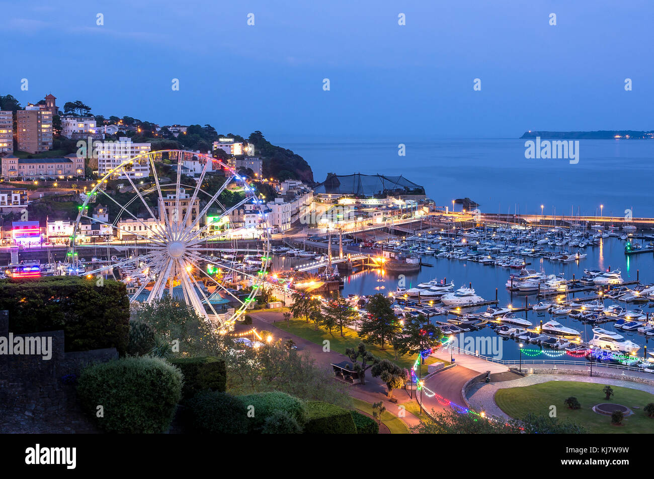 Torquay Harbour By Night - Stock Image