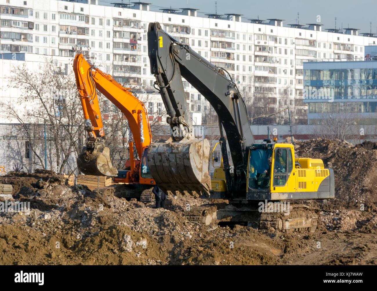Excavators working - Stock Image