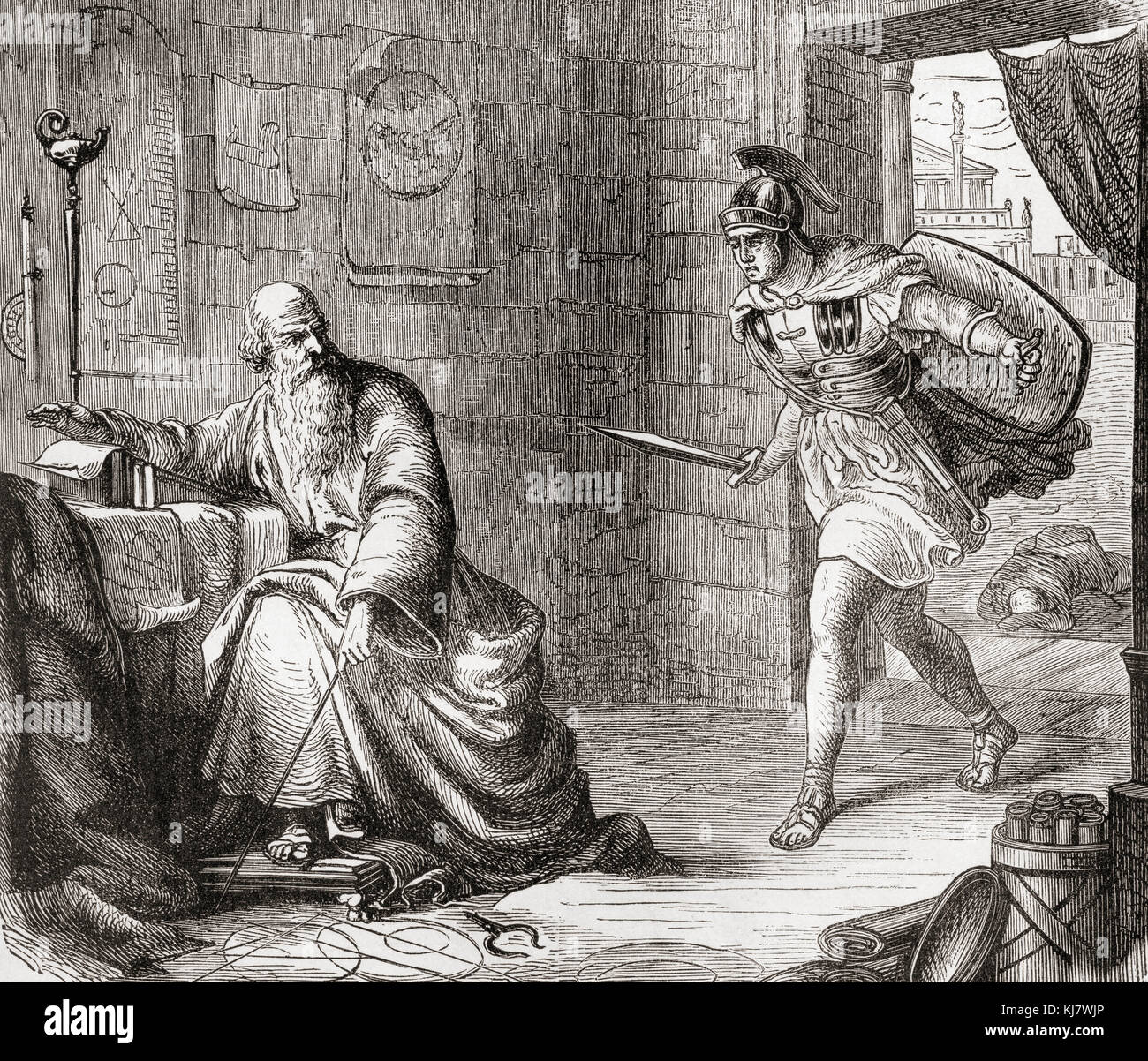 The death of Archimedes during the Siege of Syracuse when he was killed by a Roman soldier for not replying to a - Stock Image