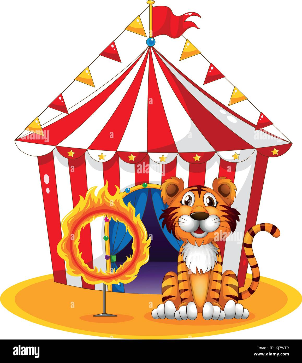 Illustration of a circus tent at the back of the tiger and the ring of fire on a white background - Stock Image