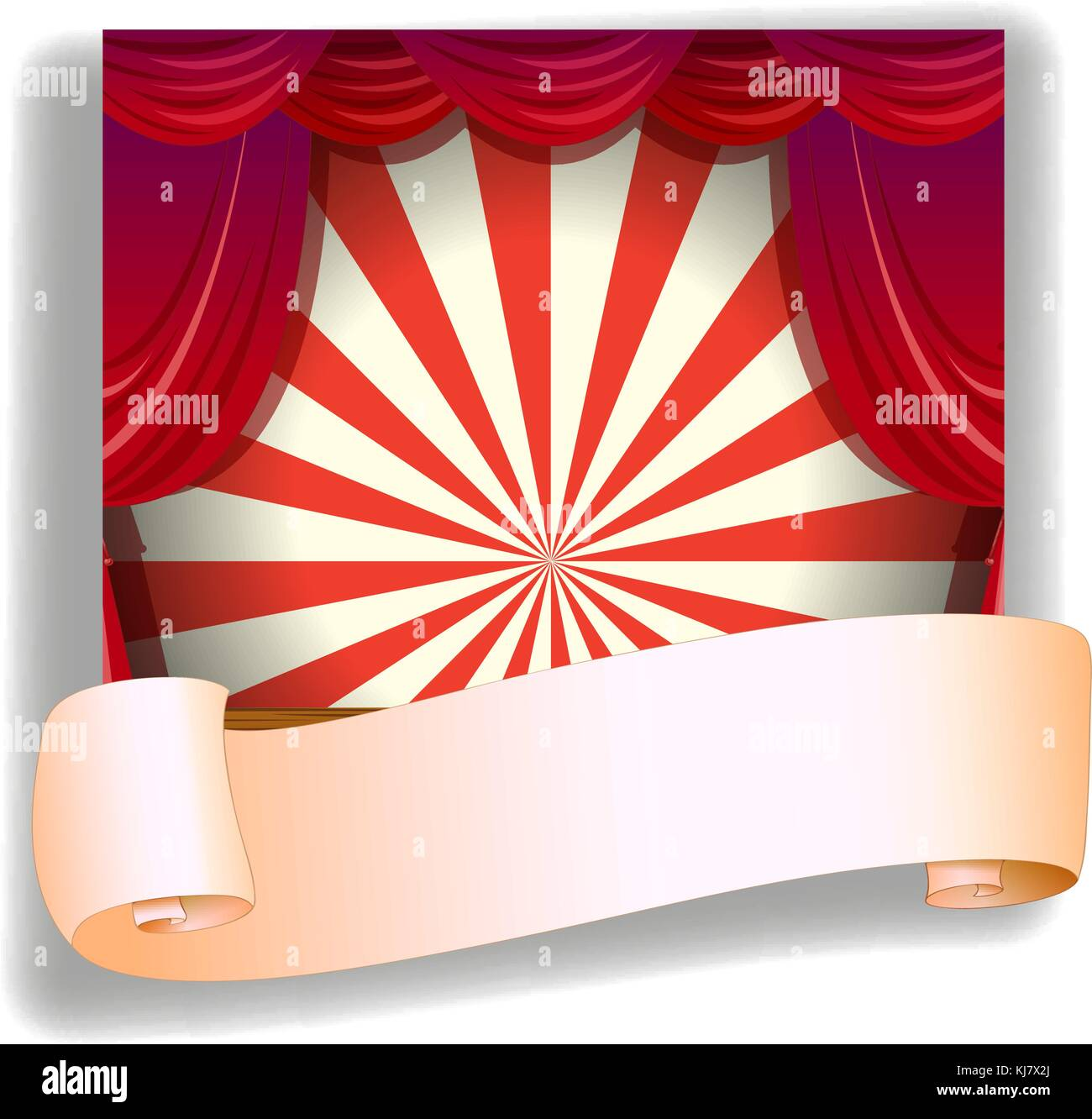 Illustration of a stage and a blank paper on a white background - Stock Vector