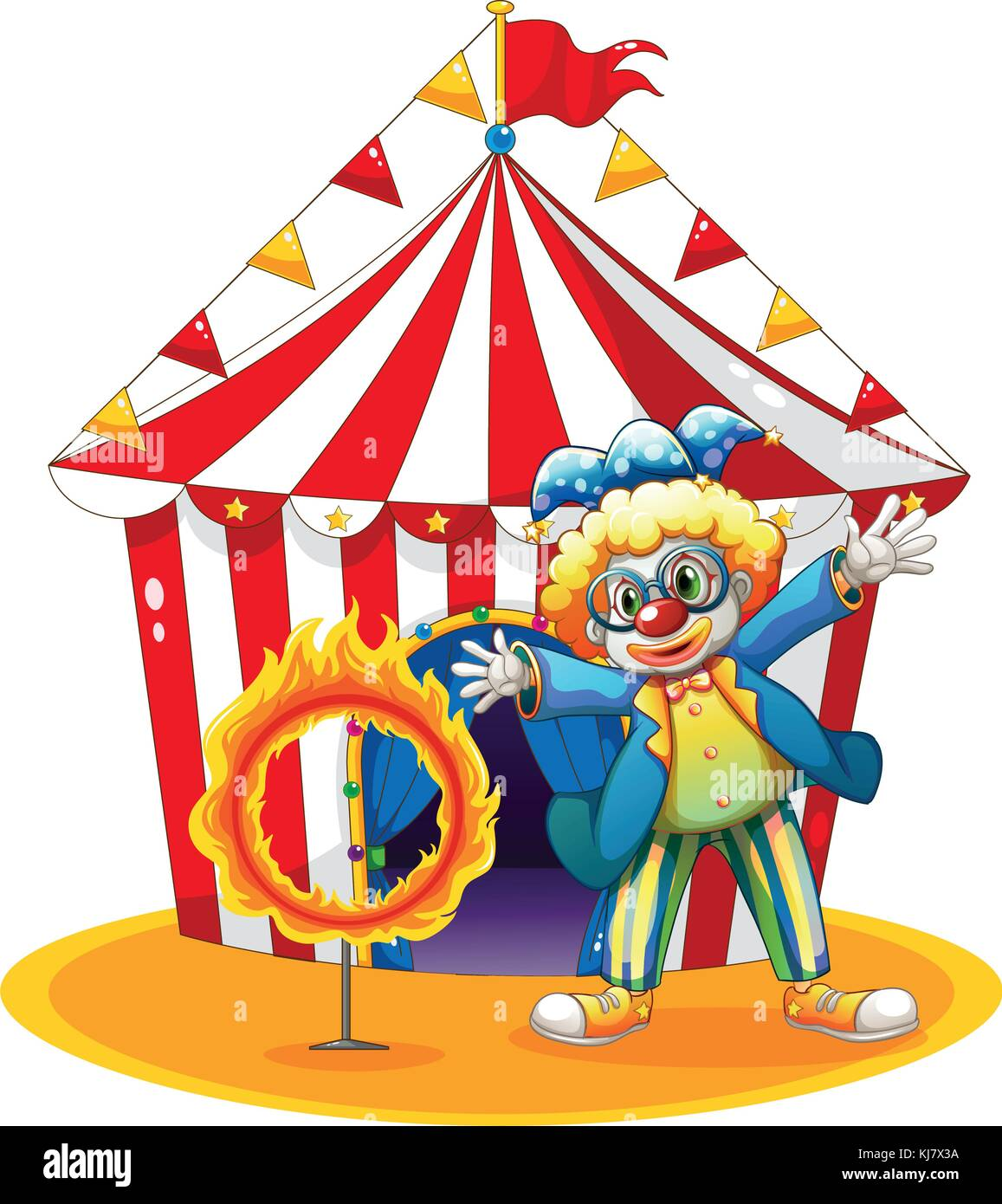Illustration of a circus tent at the back of the clown with a ring of fire on a white background - Stock Image