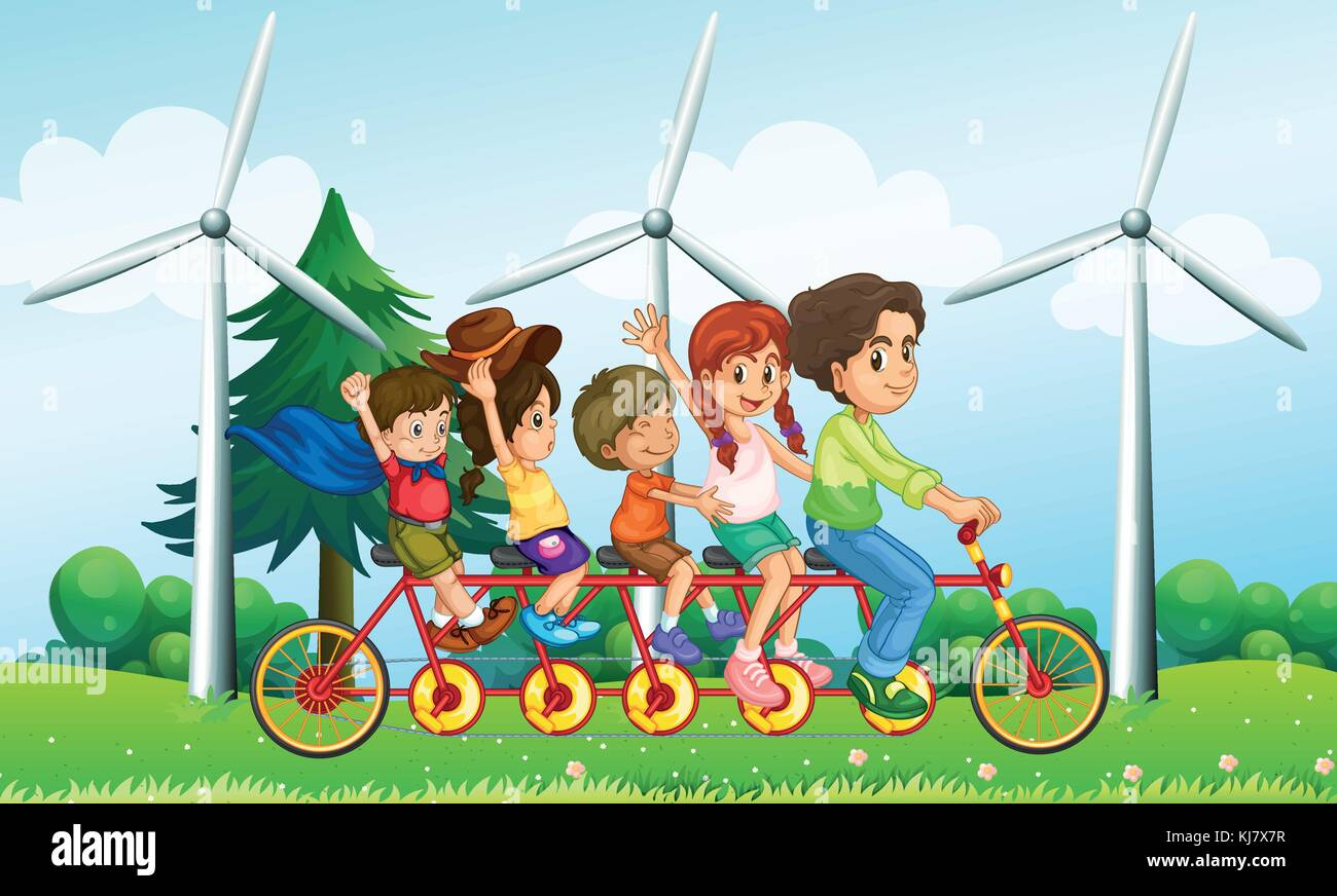 Illustration of the five kids riding at the bike near the windmills - Stock Vector
