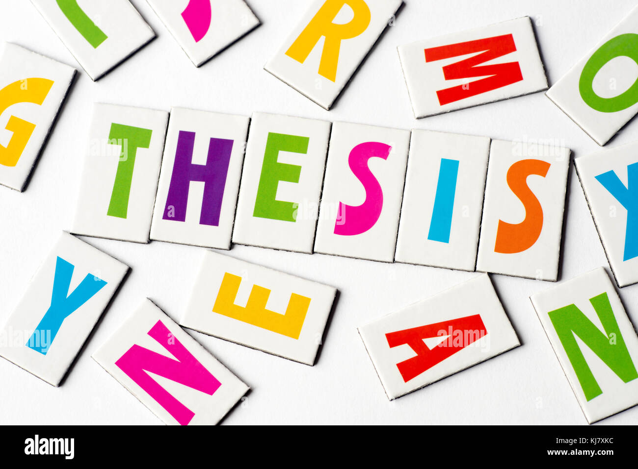 Word Thesis Made Of Colorful Letters On White Background Stock Photo - Alamy