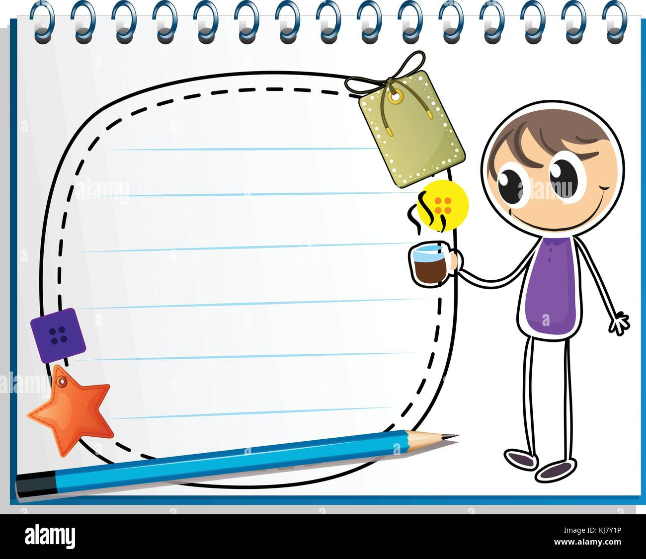 Illustration of a notebook with a drawing of a boy holding a cup of hot tea on a white background - Stock Image