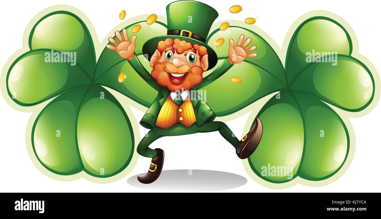Illustration of a man at the center of the big clover plants on a white background Stock Vector