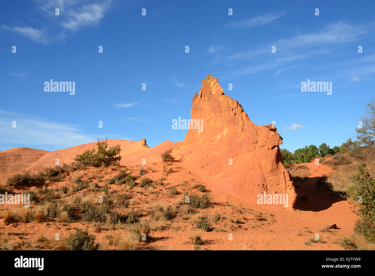 Ochre Outcrop or Formation, Ochre Landscape, Colorado Provençal, Rustrel, Luberon, Provence, France - Stock Image
