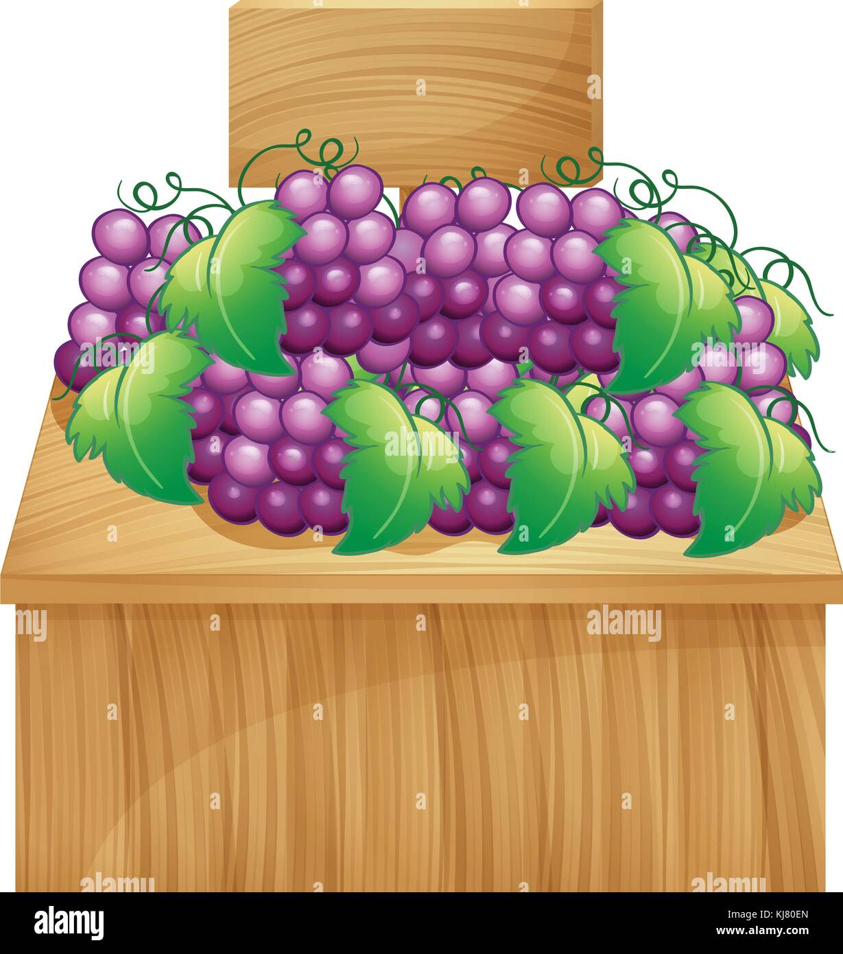 Illustration of a fruit stand for grapes with an empty signage on a white background Stock Vector