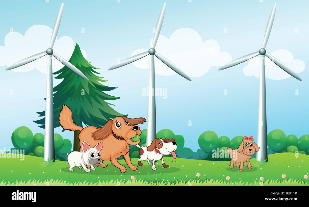 Illustration of the four dogs playing in front of the windmills - Stock Vector