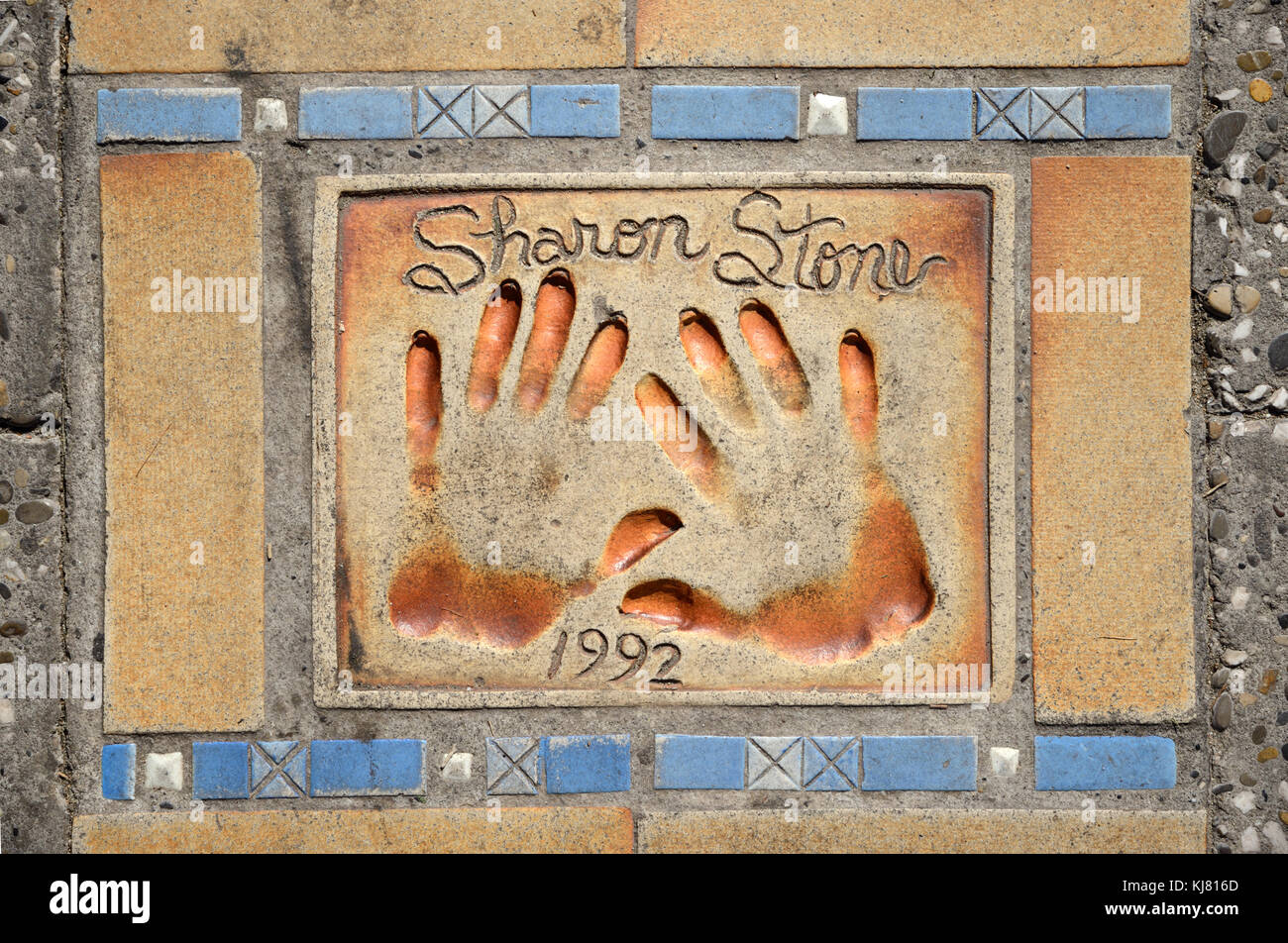 Sharon Stone Handprints on the Avenue of Stars Pavement or Sidewalk, Boulevard de la Croisette Seafront, Cannes, - Stock Image