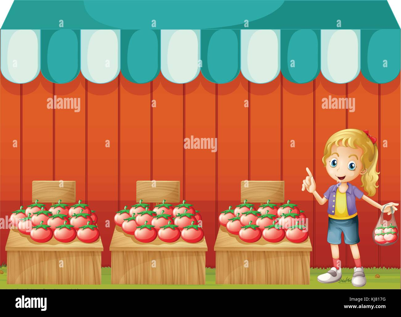 Illustration of a fruitstand with a young girl on a white background Stock Vector